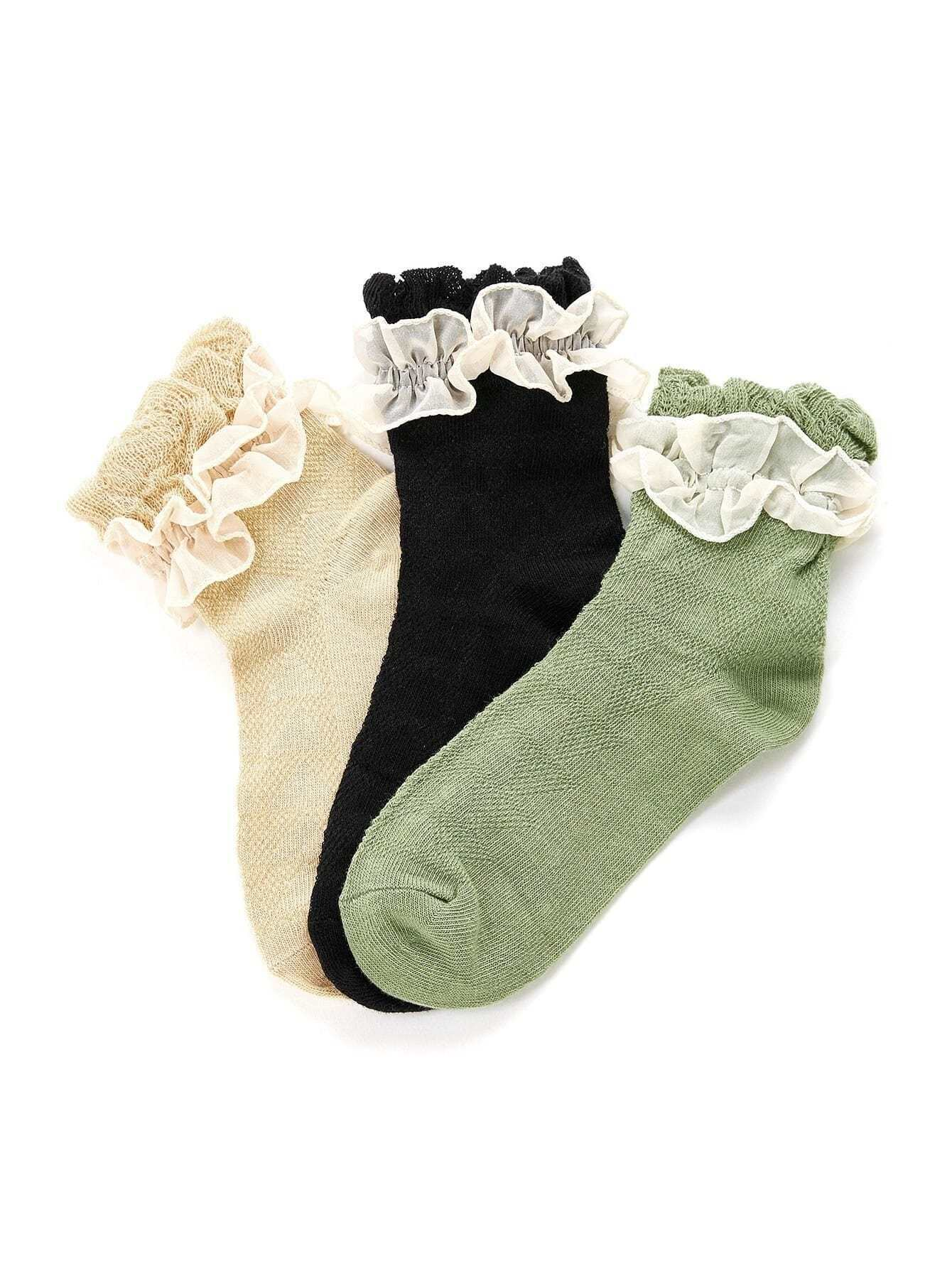 Mesh Frill Ankle Socks 3pairs