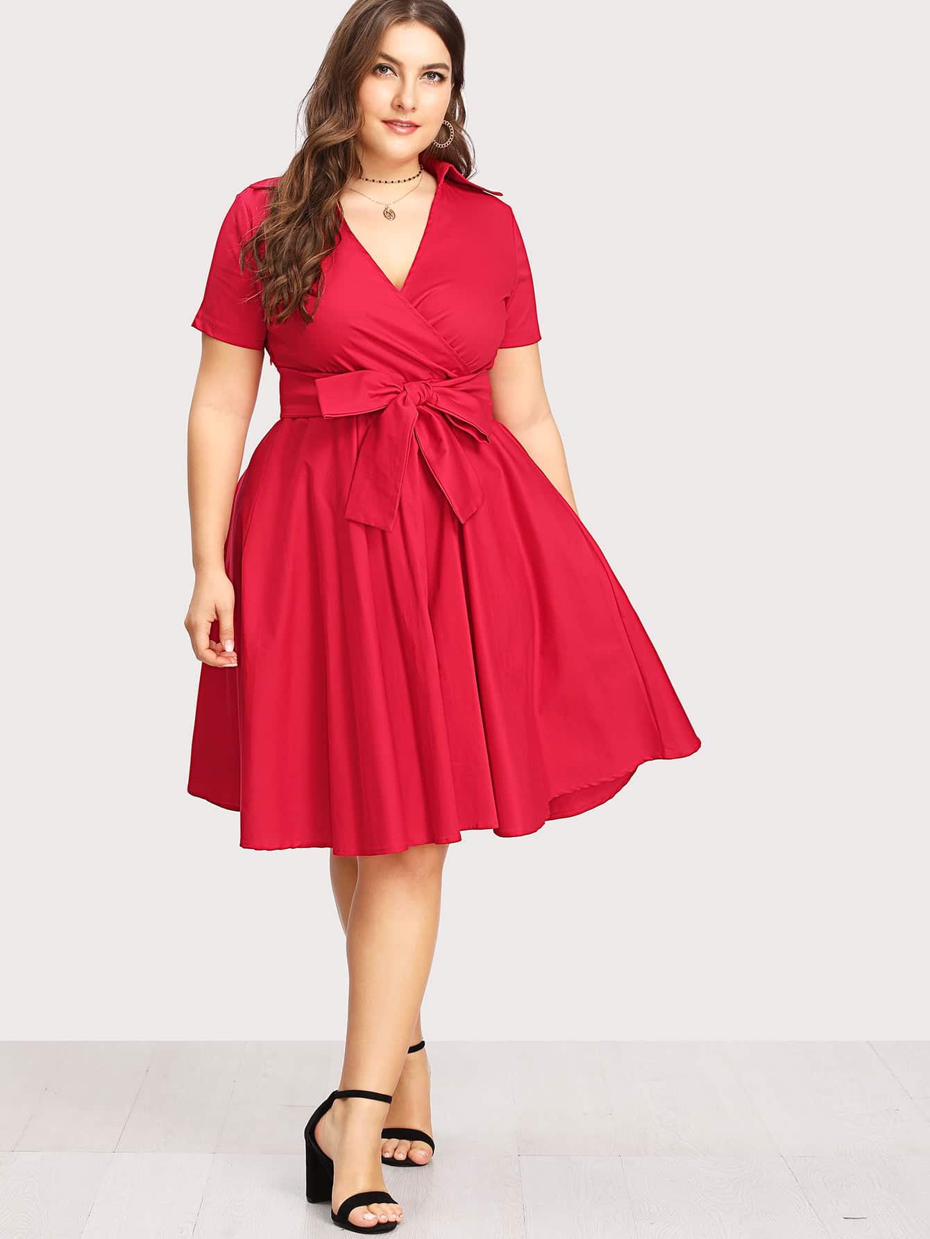 Surplice Neckline Self Tie Circle Dress