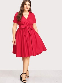 Surplice Neckline Self Tie Circle Dress