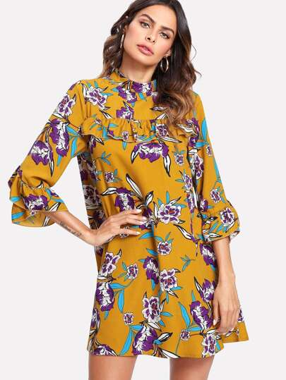 Ruffle Sleeve Floral Swing Dress