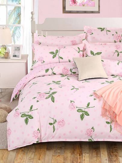 2.0m 4Pcs Rose Print Duvet Cover Set
