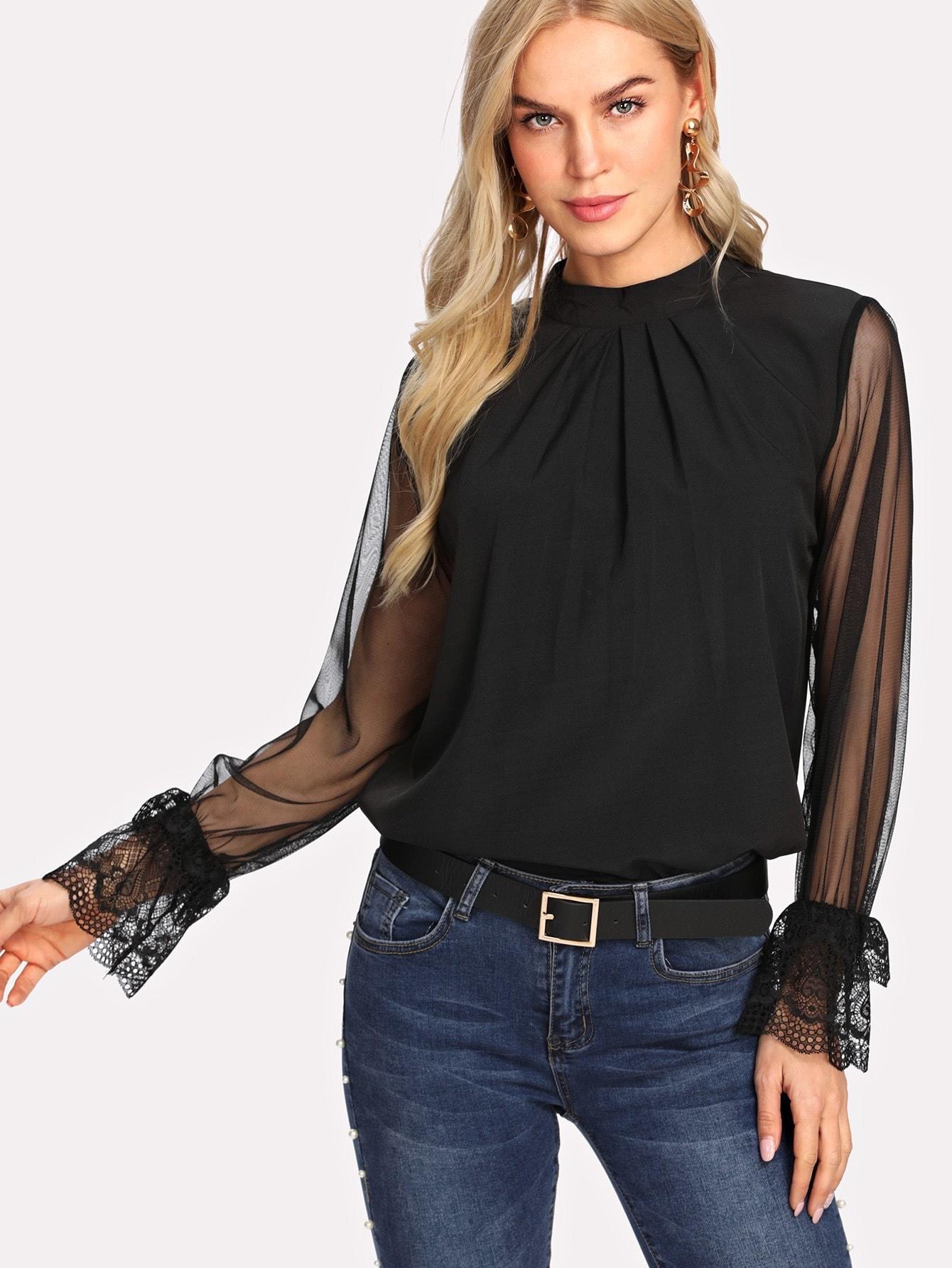 Contrast Mesh Button Keyhole Back Blouse contrast vertical stripe sleeveless keyhole back jumpsuit