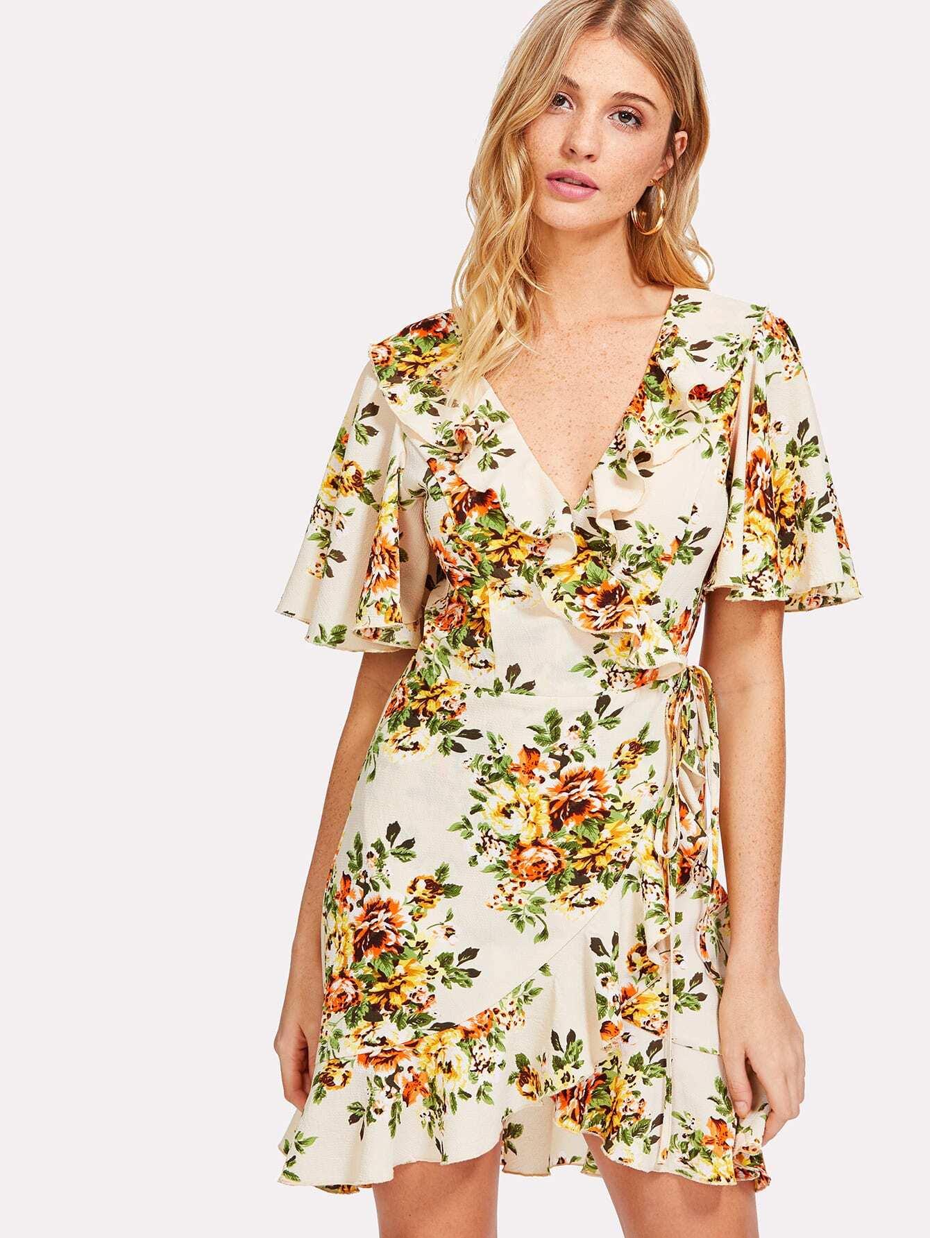 Allover Floral Print Wrap Dress allover bear print dress