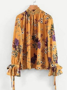 Tied Cuff Shirred Neck Floral Blouse