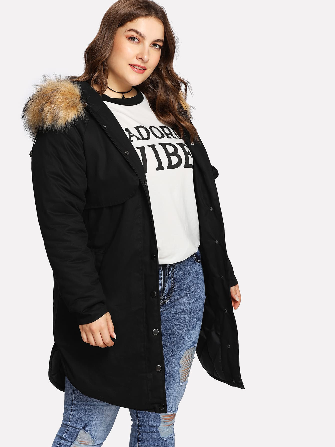 Contrast Faux Fur Hood Curved Hem Coat