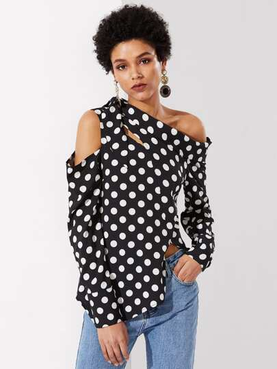 Tie Shoulder Asymmetric Polka Dot Top