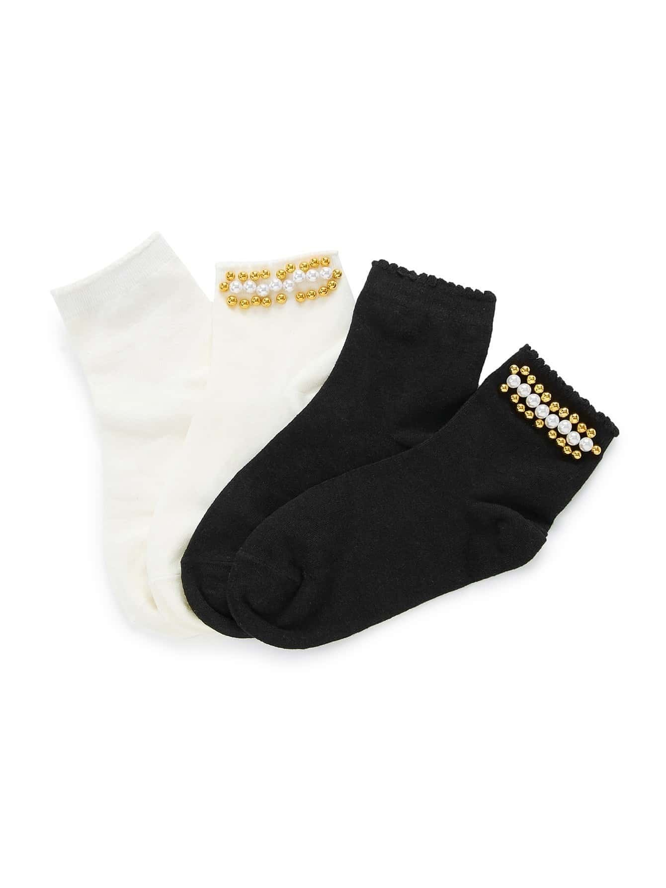 Faux Pearl Decorated Socks 2pairs