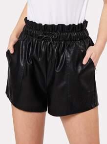 Ruffle Waist PU Shorts