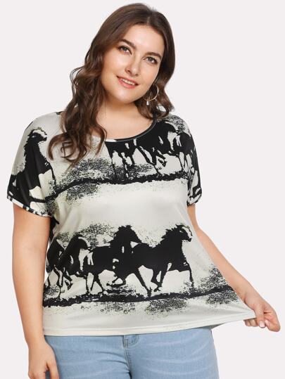 Ink Painting Print High Low Tee