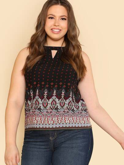 Ornate Print Keyhole Halter Top
