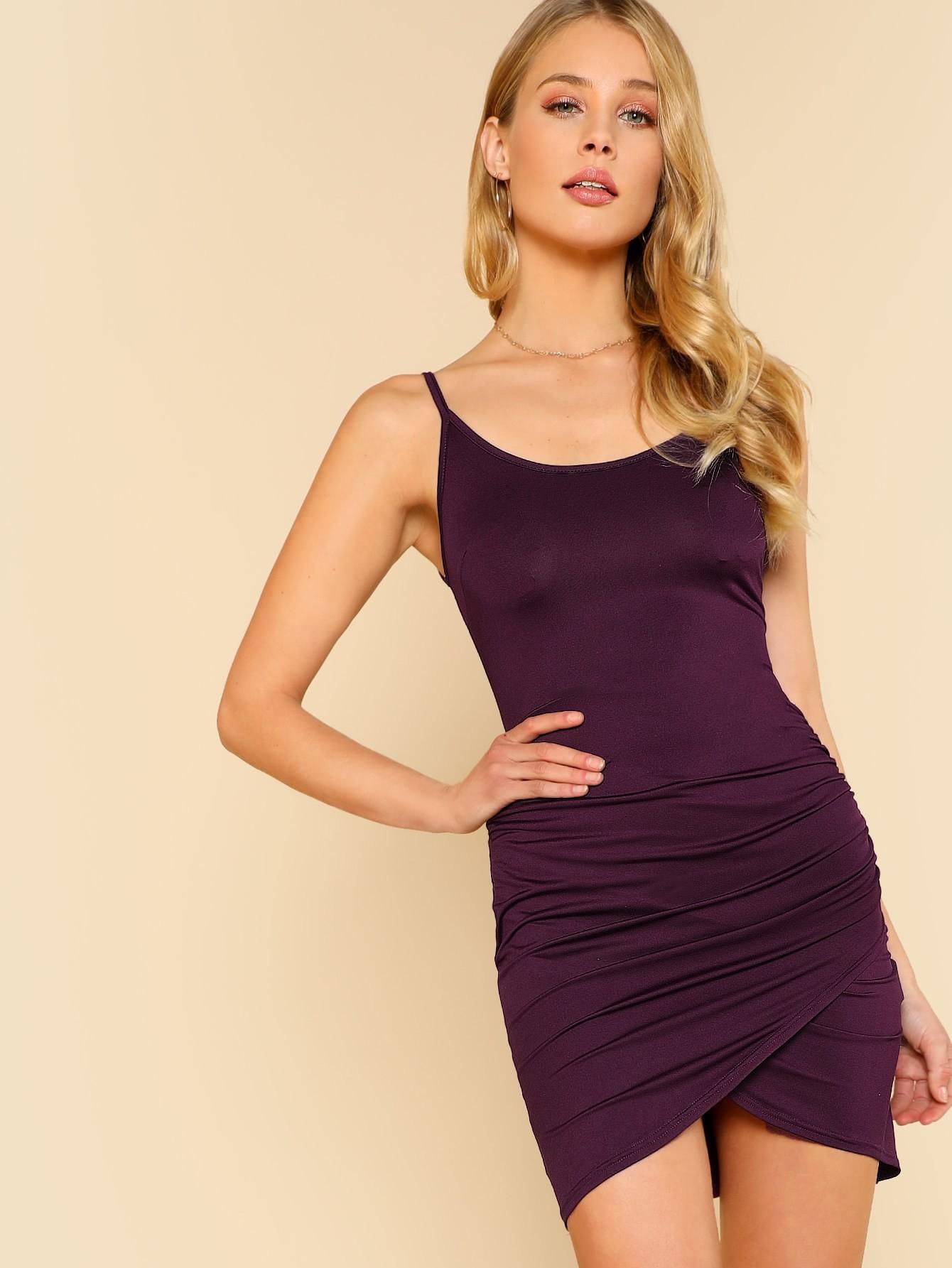 Ruched Overlap Hem Cami Dress ruched overlap cami dress