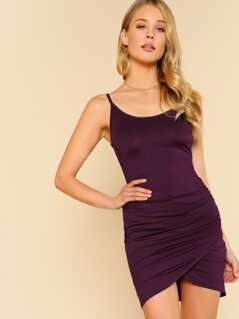 Ruched Overlap Hem Cami Dress