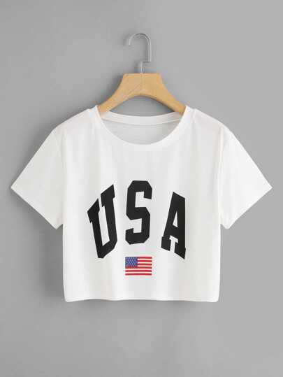 USA Flag Print Crop Tee