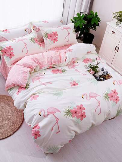 2.2m 4Pcs Flamingo Print Duvet Cover Set