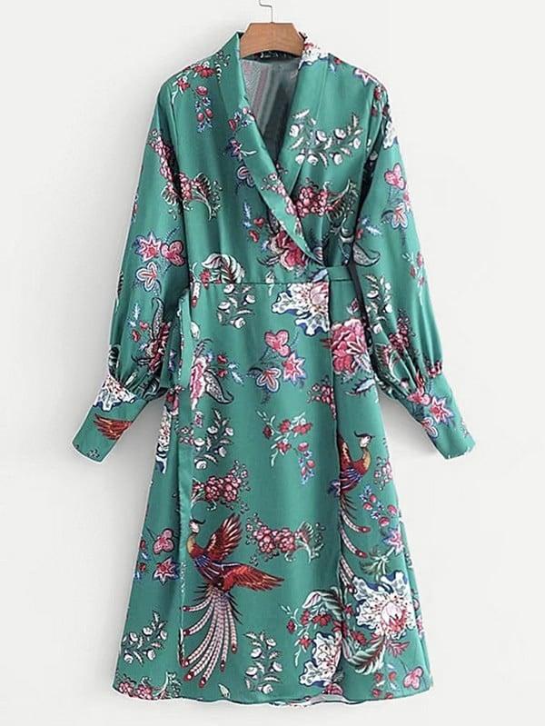 Shawl Collar Self Tie Wrap Dress plus size self tie asymmetric bridesmaid wrap dress