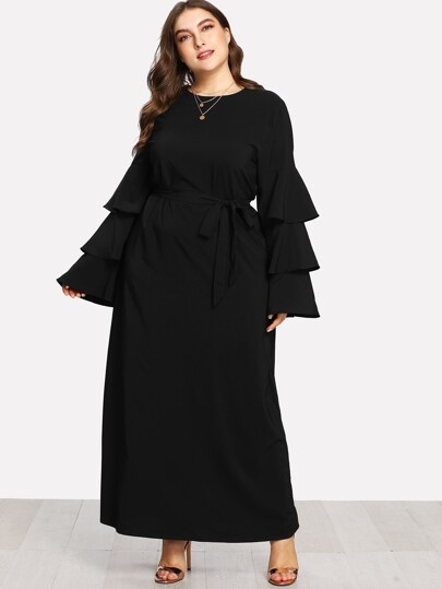 Self Waist Tiered Sleeve Dress