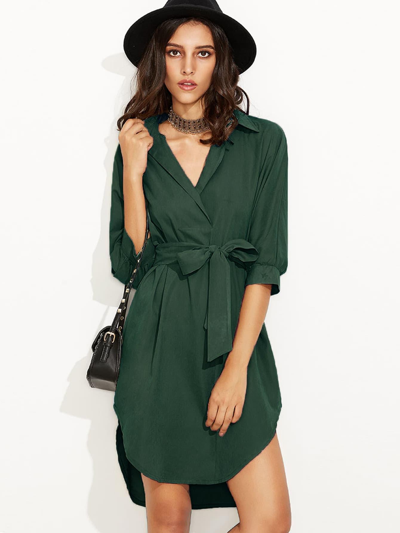 Curved Hem Self Tie Shirt Dress rolled sleeve slit side curved hem self tie dress