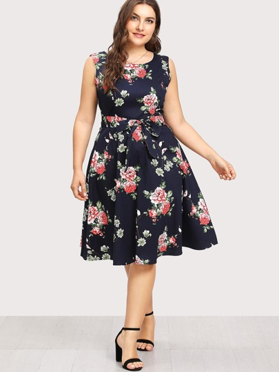 Random Florals Self Tie Skater Dress