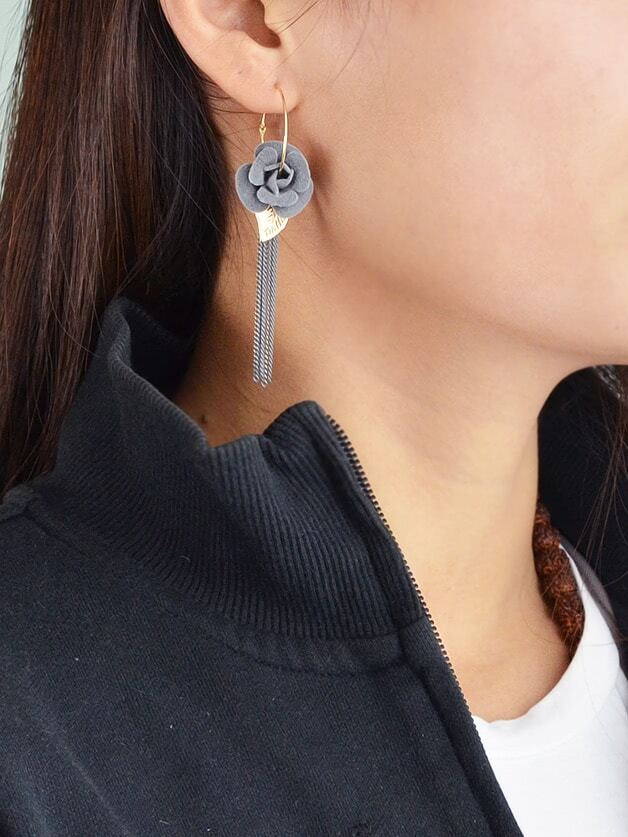 Flower Hoop Long Chain Tassel Earrings