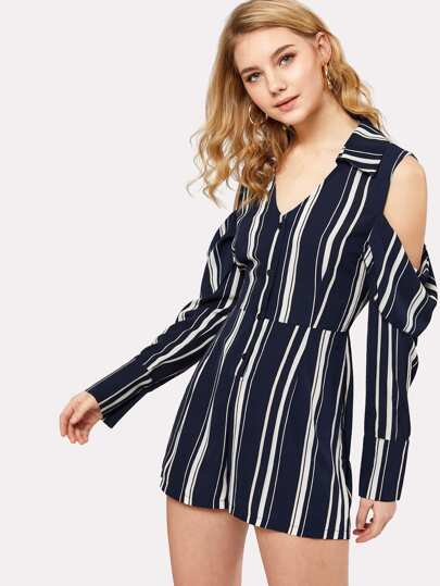 Half Placket Cold Shoulder Striped Shirt Romper