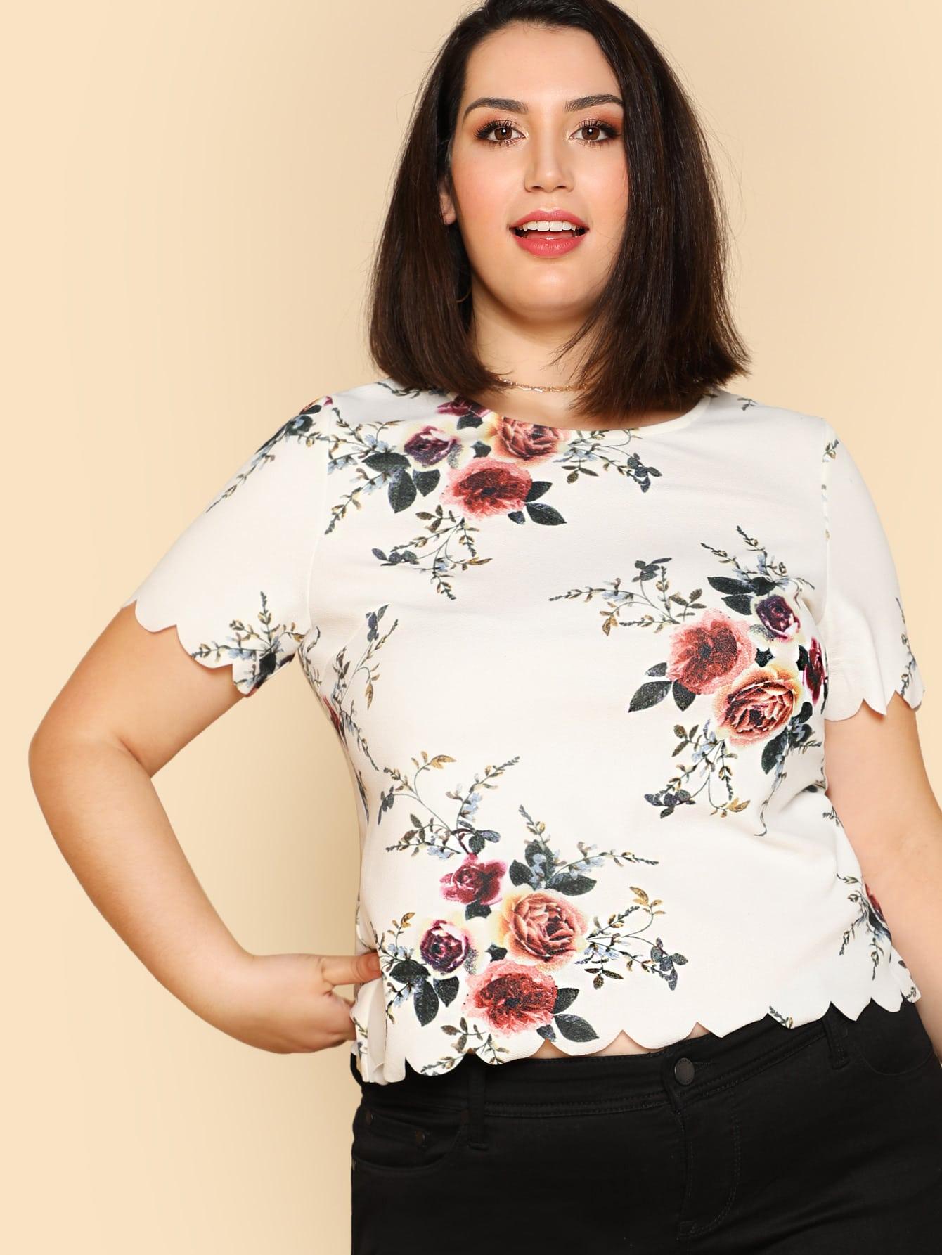 Купить Модный топ с фестонами и цветочным принтом, Jessica Lauren, SheIn