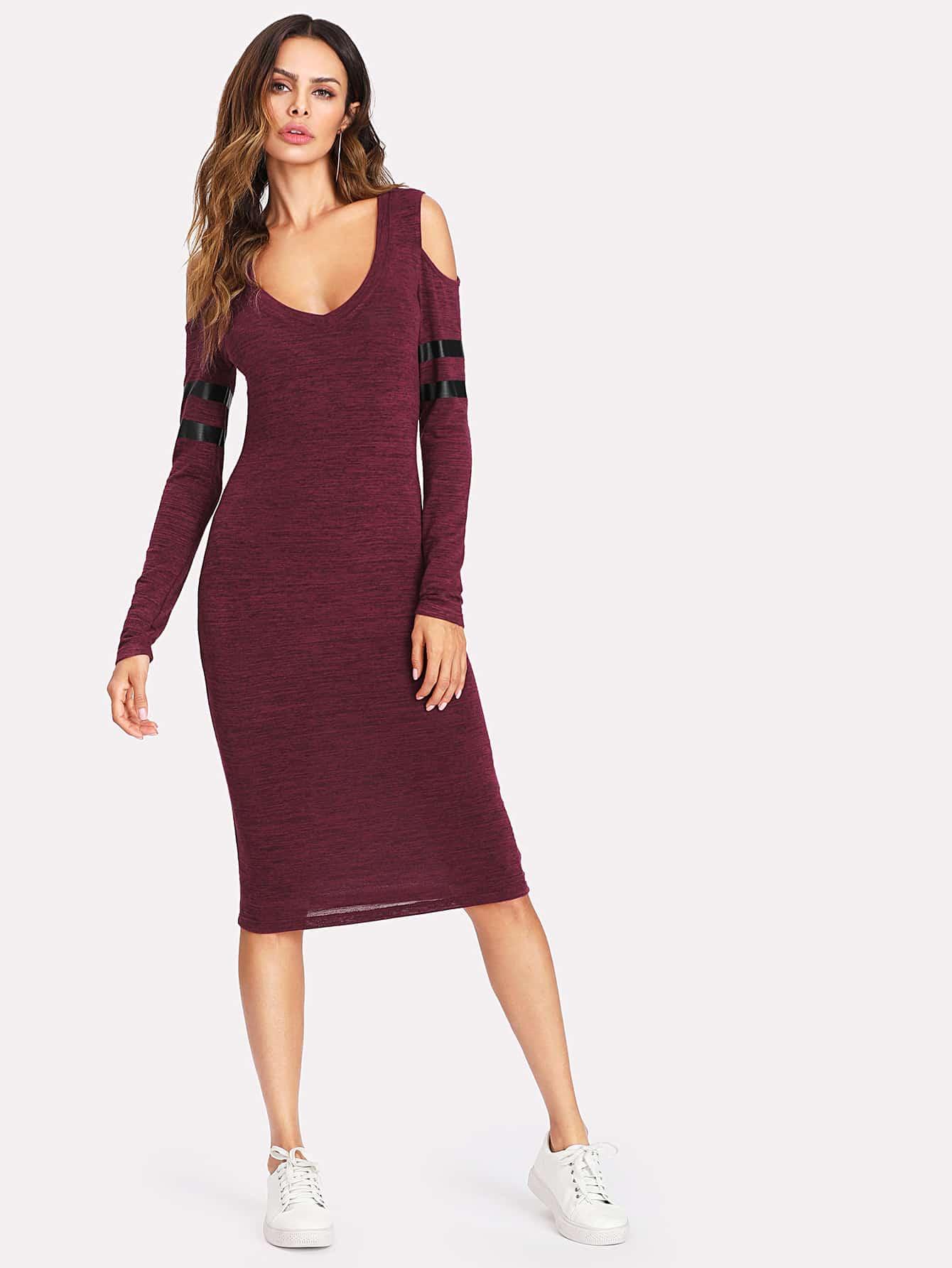 Open Shoulder Striped Sleeve Marled Knit Dress drop shoulder marled sweatshirt dress with corset belt