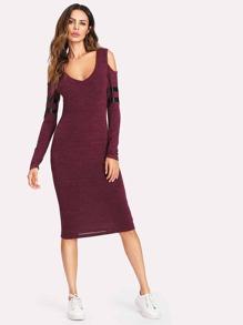 Open Shoulder Striped Sleeve Marled Knit Dress