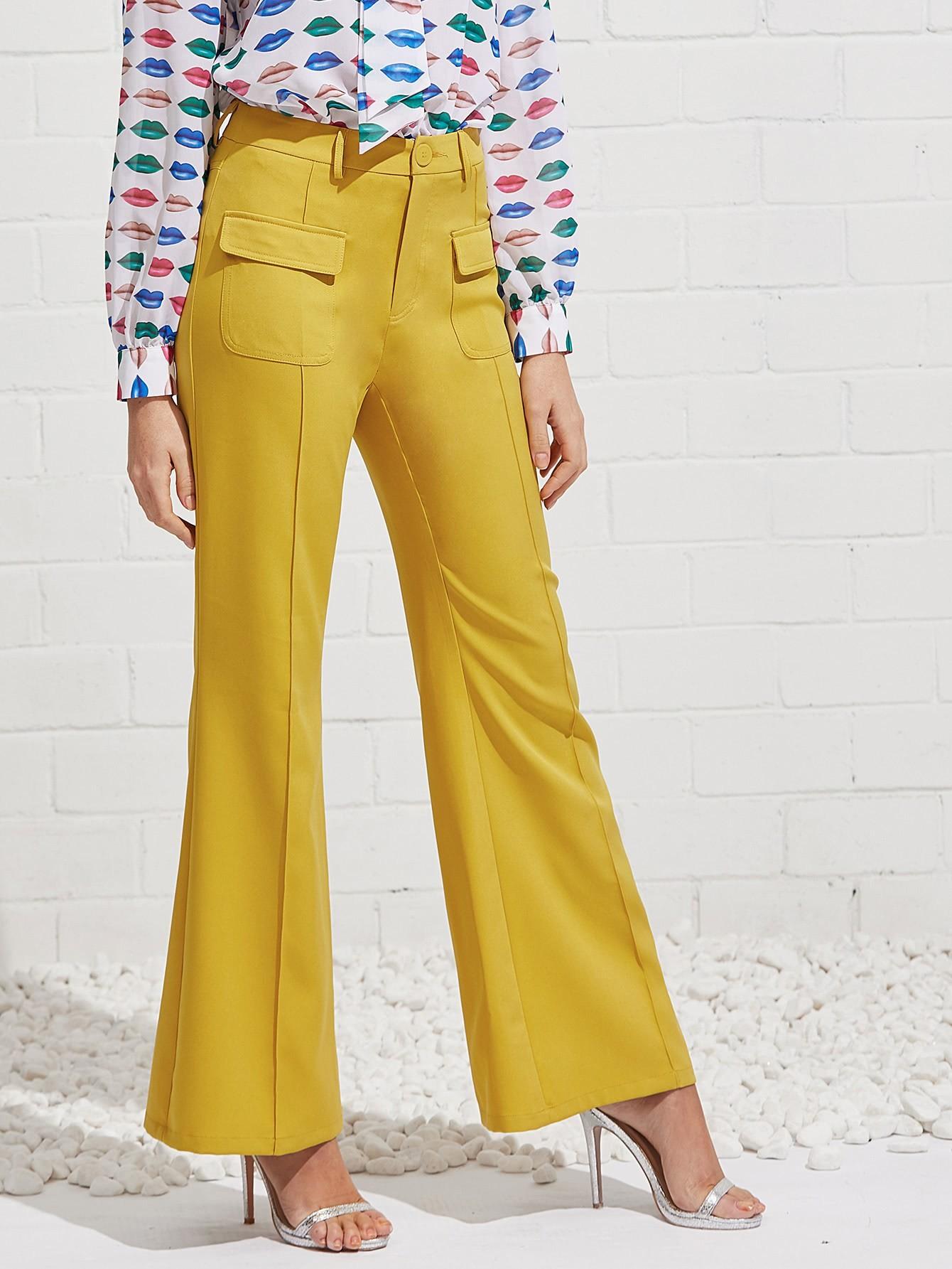 Flap Pocket Front Flared Pants zip back flared pants