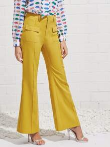 Flap Pocket Front Flared Pants