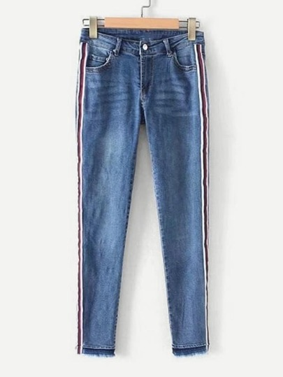 Striped Tape Raw Hem Jeans