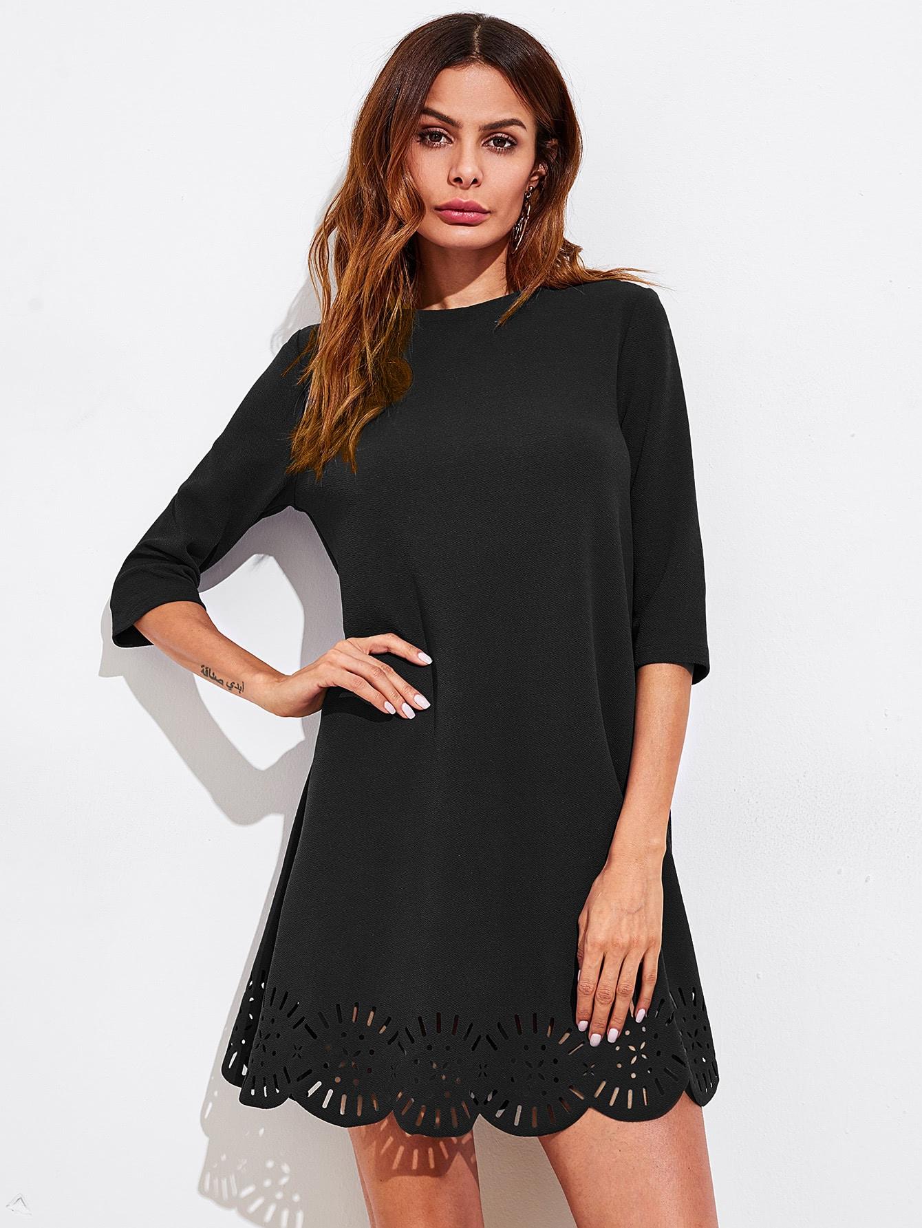 Scallop Laser Cut Hem Swing Dress scallop laser cut form fitting dress