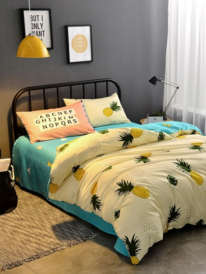 1.0m 3Pcs Pineapple Print Duvet Cover Set
