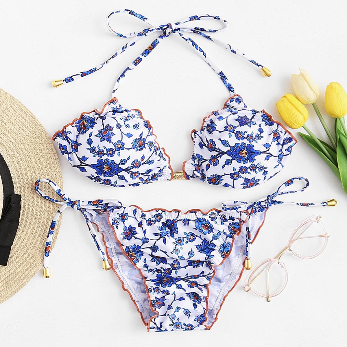 Calico Print Lettuce Bikini Set
