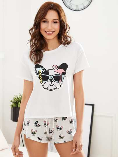 Dog Print Top And Drawstring Waist Shorts PJ Set