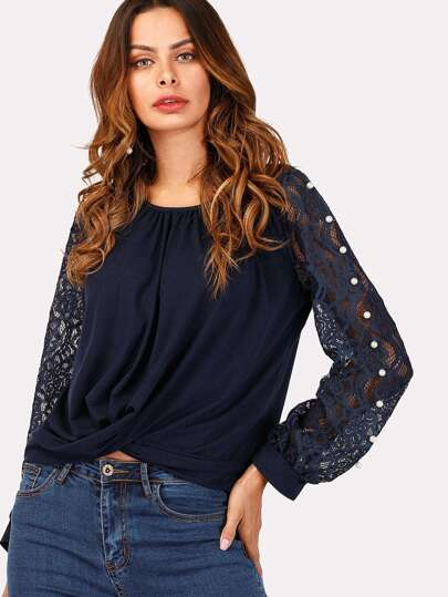 Twist Front Peals Beaded Detail Blouse