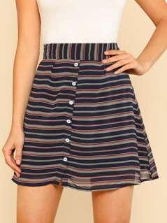 Front Button Stripe Mini Skirt NAVY