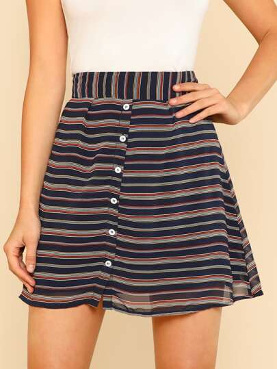 Front Button Stripe Mini Skirt NAVY