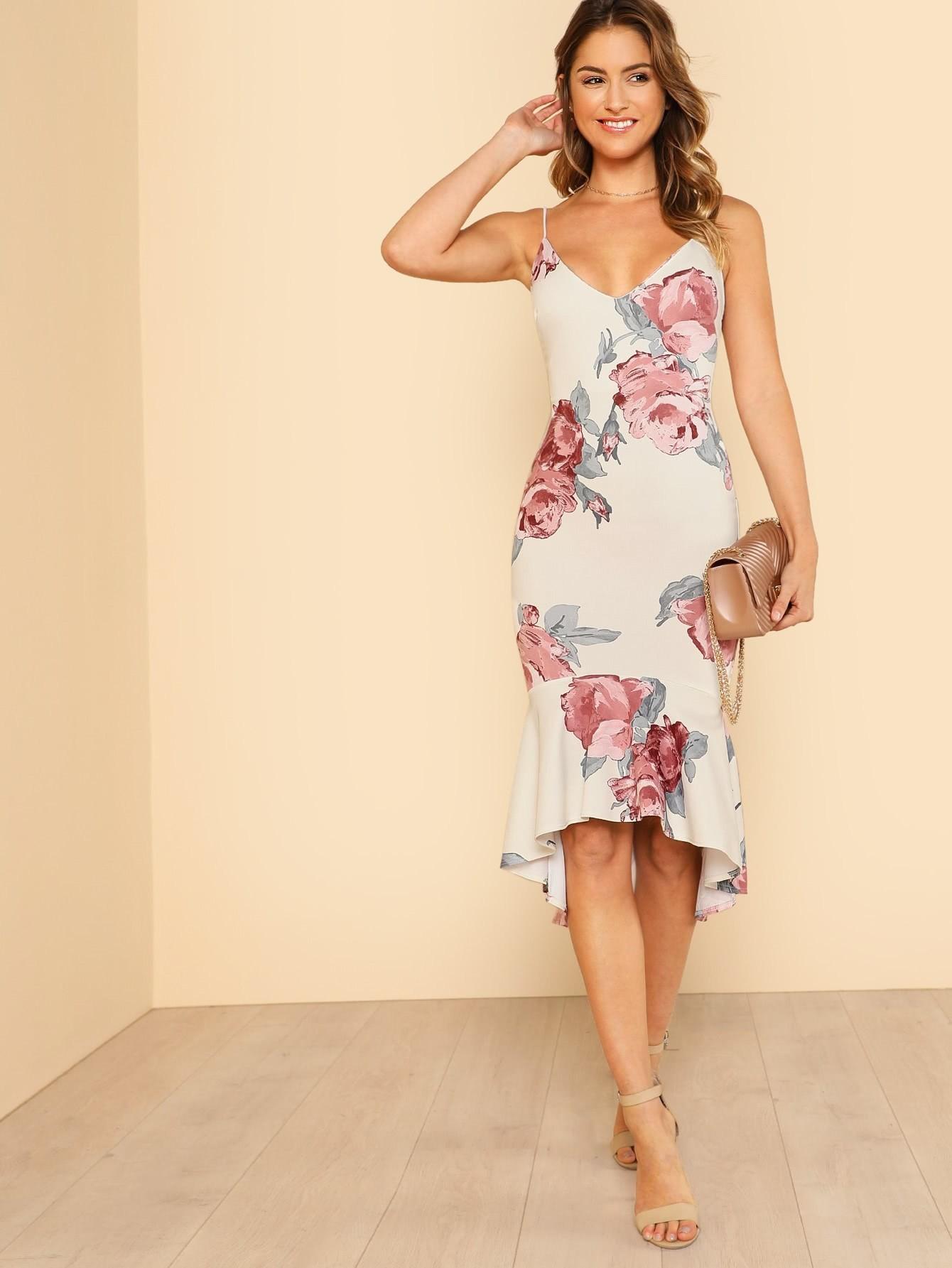 Flower Print Ruffle Dip Hem Cami Dress ruffle embellished flower print cami jumpsuit