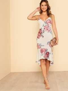 Flower Print Ruffle Dip Hem Cami Dress