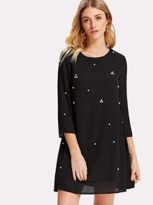 Pearl Beading Cutout Back Tunic Dress