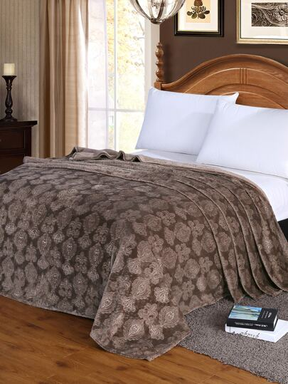 Solid Faux Fleece Baroque Textured Blanket