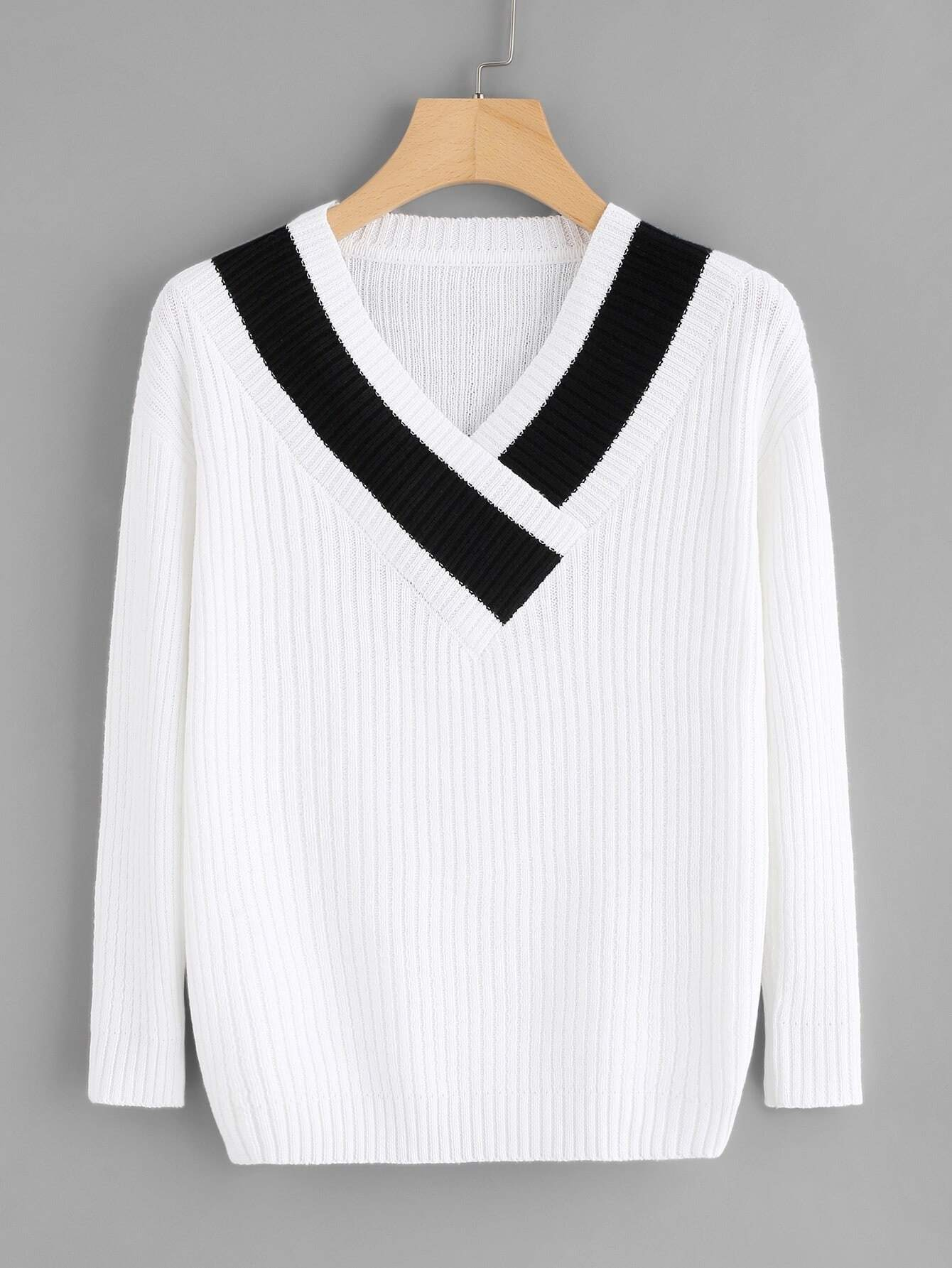 Contrast Trim Ribbed Jumper sweater180105001