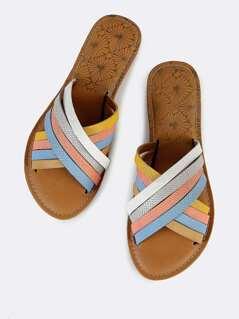 Multi Strap Slide Sandals MULTI