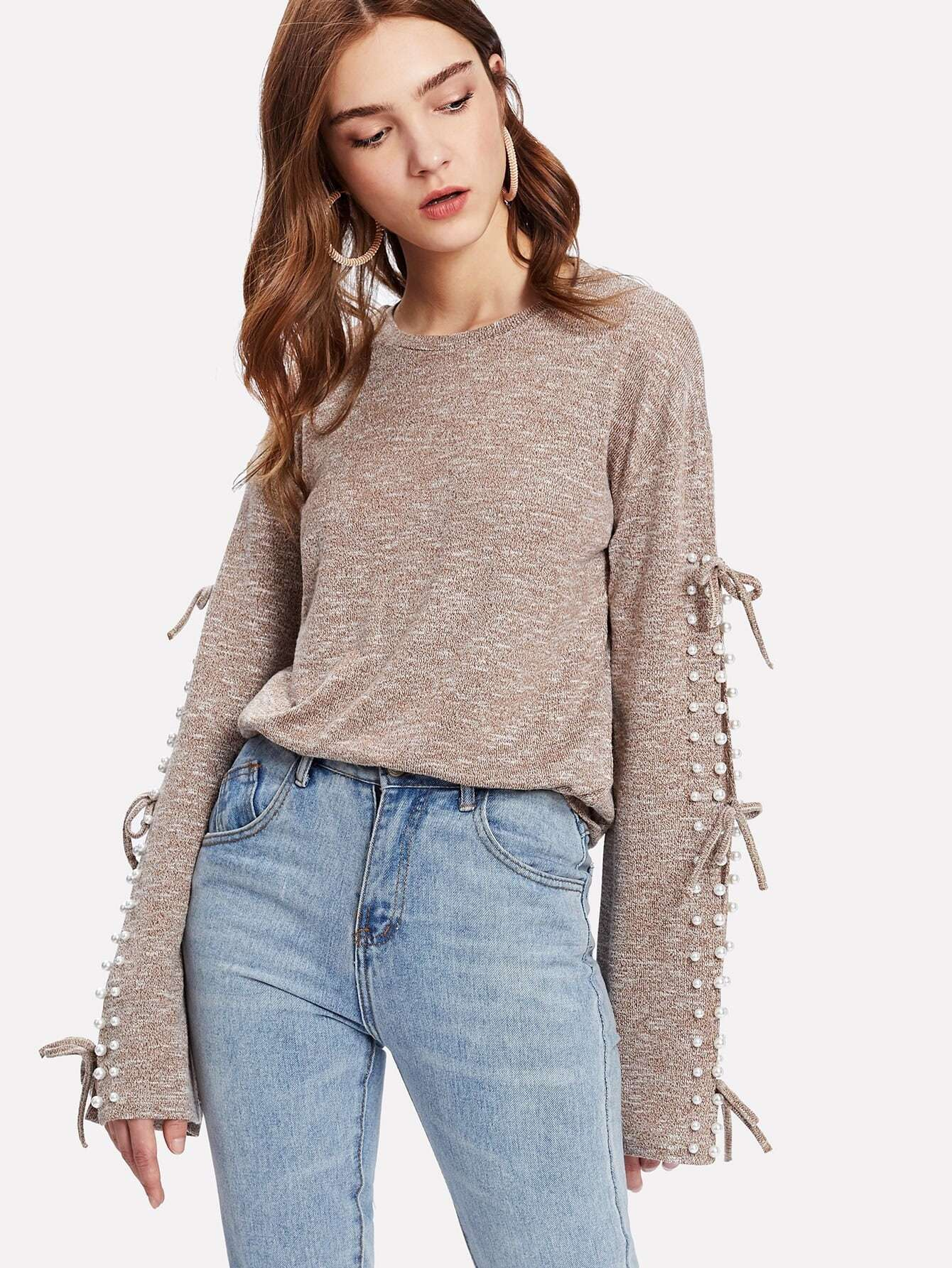 Pearl Beading Knotted Split Sleeve Marled Top pearl beading layered sleeve top
