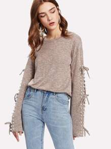 Pearl Beading Knotted Split Sleeve Marled Top