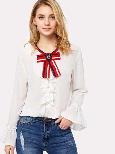 Bow Neck Ruffle Placket And Cuff Blouse