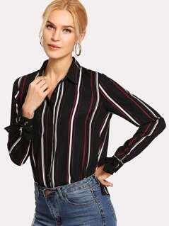 Vertical Striped Button Up Shirt