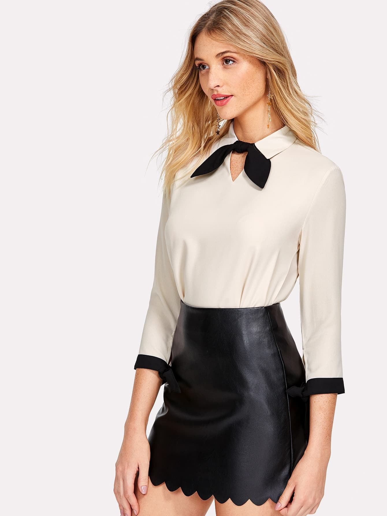 Contrast Tie And Knotted Cuff Blouse