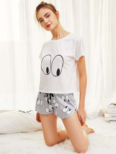 Cartoon Eye Print Tee And Shorts Pajama Set