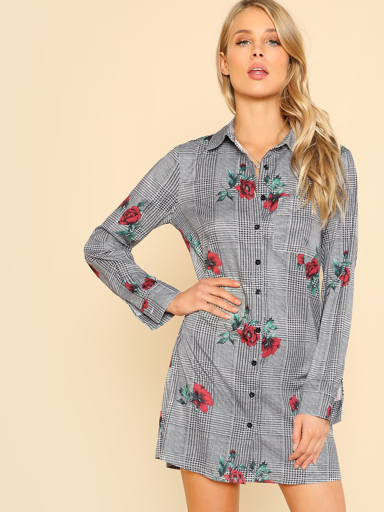 Plaid And Flower Print Shirt Dress